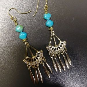 IntroPrice! 18kGenuineTurquoise CoyoteBoho Dangles